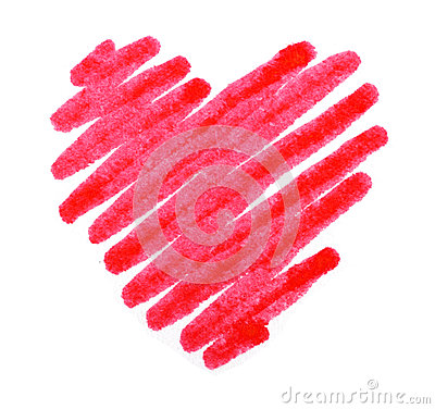 Red color drawing stroke heart shape