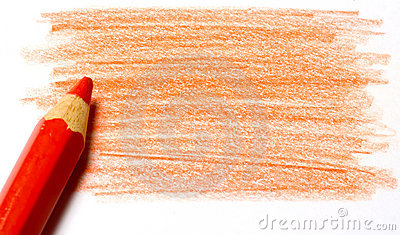 Red color pencil with coloring