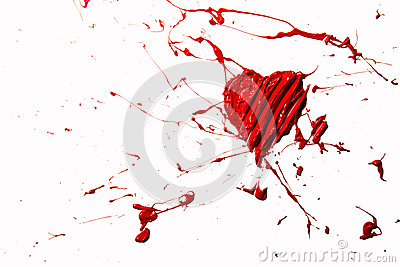 Red color splash love heart