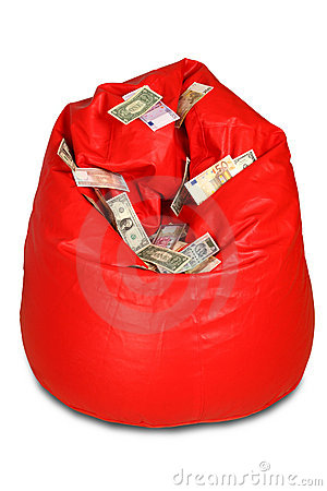 Red colored bean bag with currency notes