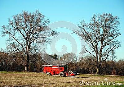 Red Combine Tractor