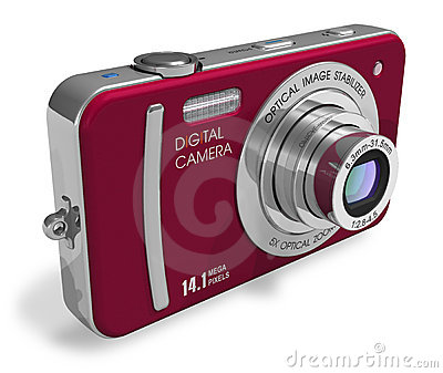 Red compact digital camera
