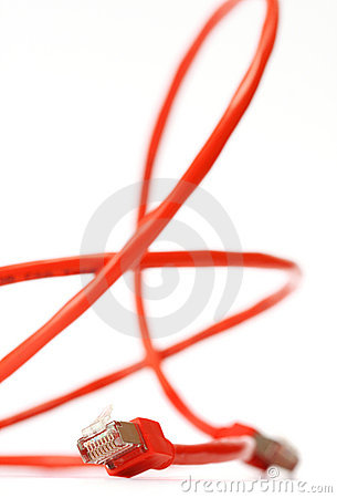 Red computer network cable