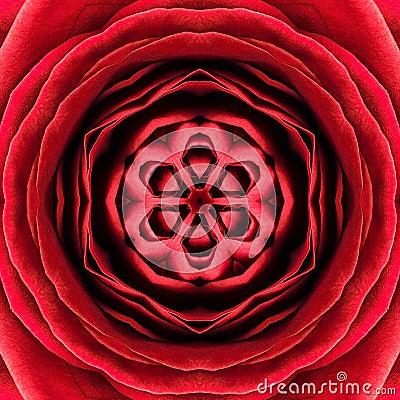 Free Red Concentric Flower Center. Mandala Kaleidoscopic Design Royalty Free Stock Photos - 35944918