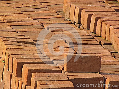 Red construction bricks background
