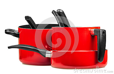 Red cooking pans and pots