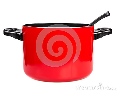 Red cooking pot with a spoon