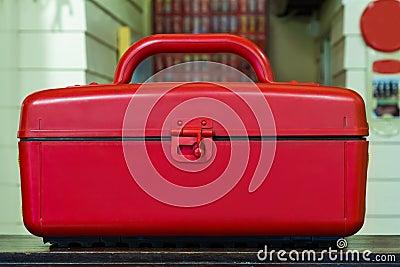 Red cooler plastic box