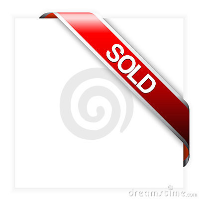 Free Red Corner Ribbon For Sold Items Royalty Free Stock Image - 9489966