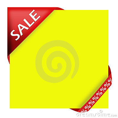 Red corner ribbon with sale sign