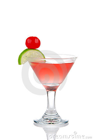 Red Cosmopolitan martini cocktail with vodka