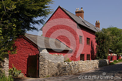 Red cottage in Glamorgan, UK