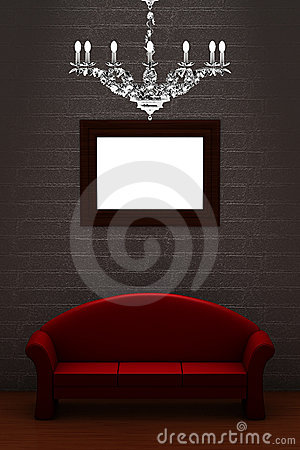 Red couch with empty frame and luxury chandelier