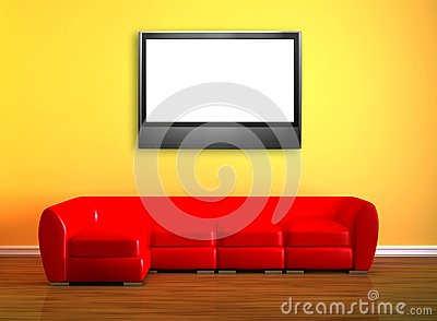 Red couch with LCD tv
