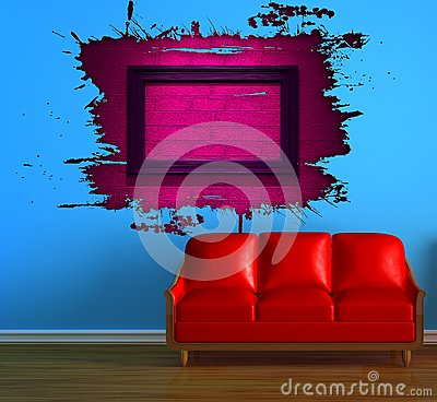 Red couch and pink splash hole