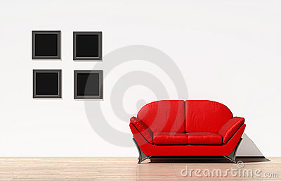 Red couch on a white wall
