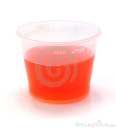 Red Cough Syrup in a Cup