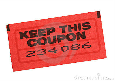 Red coupon ticket