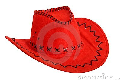 Red cowboy hat isolated on white