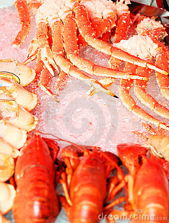 Red crabs on fish market