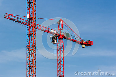 Red Crane on Blue Sky
