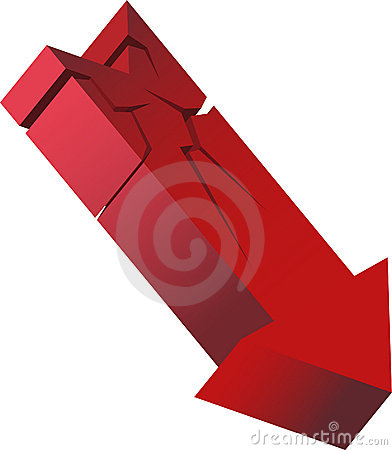 Red Crashing Arrow