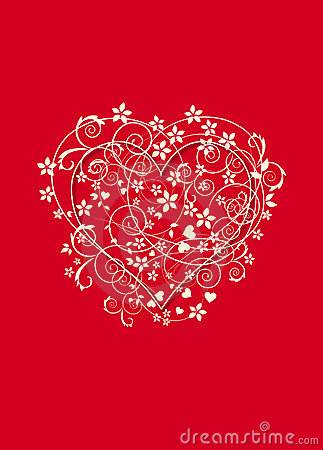 Red and creamy background with love heart
