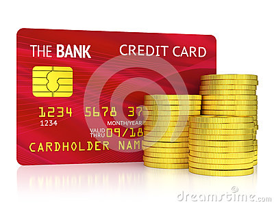 Red credit card and coins isolated on white