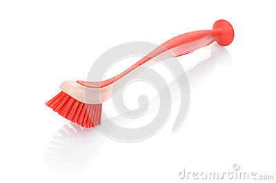 Red crockery brush