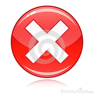 Red cross button - refuse, wrong answer, cancel