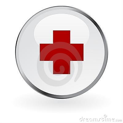 Red cross glossy button Editorial Image