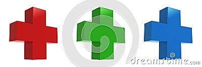 Red cross, green cross, Blue cross