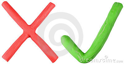 Red cross and green tick.
