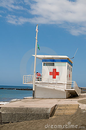 Red cross Lifeguard station Editorial Stock Image