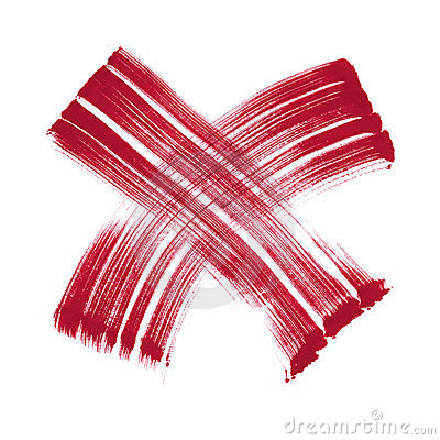 Red cross mark heavy brush symbol