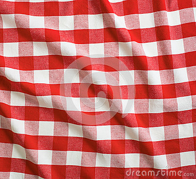 Red crumpled linen gingham picnic tablecloth