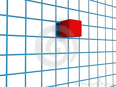 Red cube blue grid