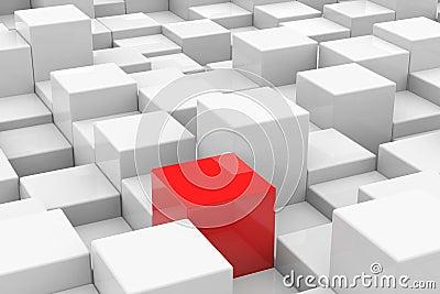 Red cube among white cubes. Unique concept.