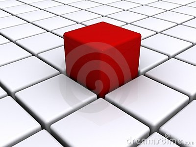 Red cube on white grid