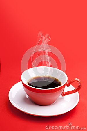 Red cup with hot coffee