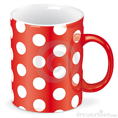 Red cup with white dots - vector file added