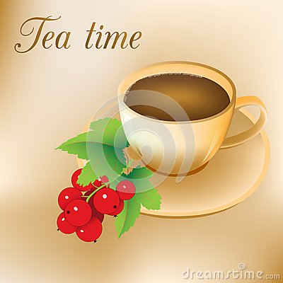Red currant and a cup of tea