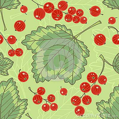 Red currants seamless pattern.