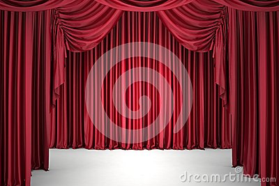 Red the curtain, lit by a spotlight