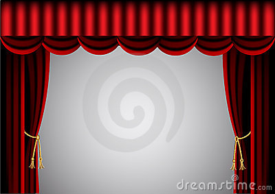 Red curtain and scenic screen