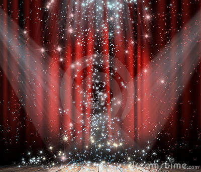 Red curtain with star
