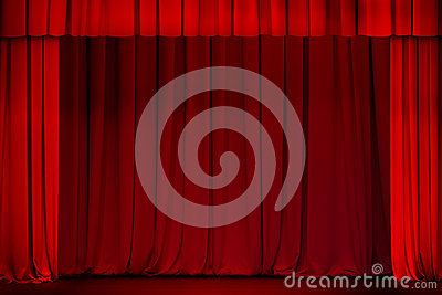 Red curtain on theater or cinema stage open