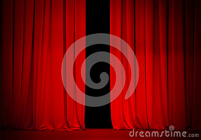 Red curtain on theatre or cinema stage