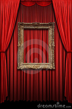 Free Red Curtain With Vintage Gold Frame Stock Image - 6302231
