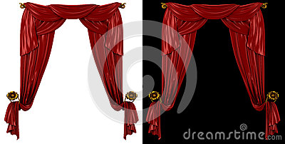 Red curtains on a black and white background